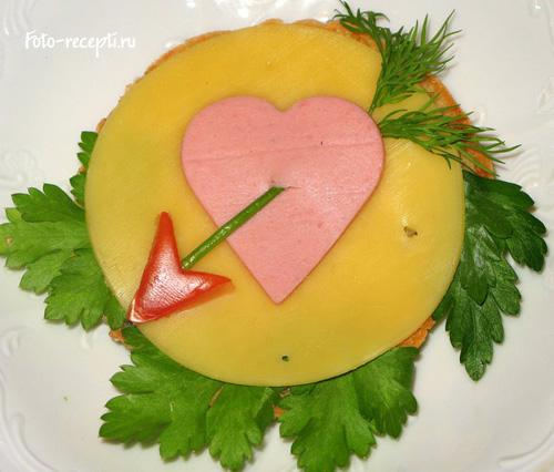 Серце Бутерброди для дитячого свята і сніданку дітей