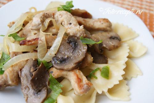 Рецепт мяса с опятами макаронами