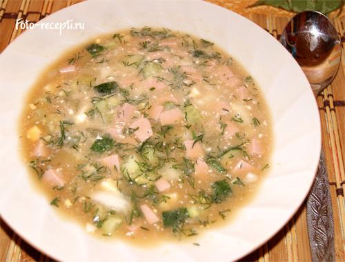 рецепт окрошки на воде с колбасой