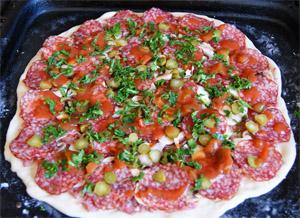Пицца с грибами и колбасой, рецепт домашней пиццы
