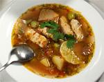 Рыбная солянка .  500гр рыбы , 1кг белокочанной капусты , 200гр белых грибов , 1-2 солёных огурца , маслины...