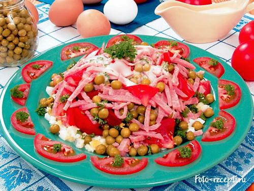 Рецепт приготовления салата  из ветчины с помидорами и зеленым горошком